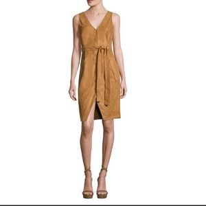 Moon River |Faux Suede Button Down Tie Waist Dress
